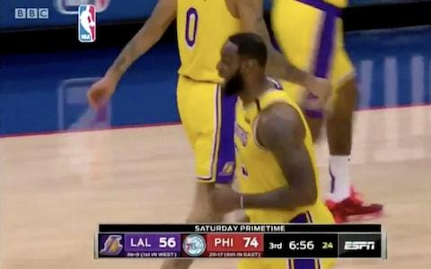 BBC footage showing LeBron James during a report on Kobe Bryant