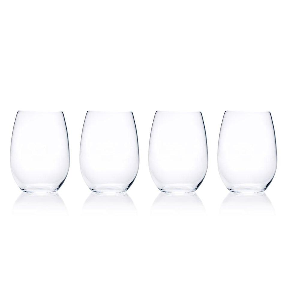 <p>Who can be bothered with handwashing wine glasses? This <span>Mikasa Julie Set of Four Stemless Wine Glasses</span> ($24) is made from high-quality crystal that can withstand the dishwasher.</p>