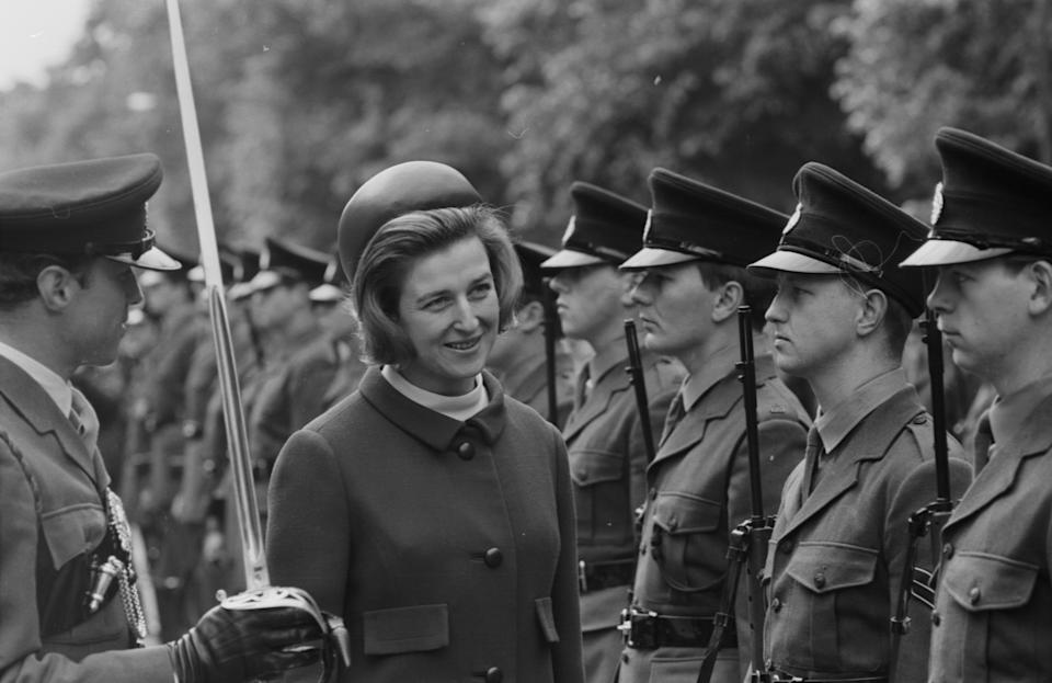 Princess Alexandra inspecting the troops, at a parade in Hyde Park, London, 19th May 1968. (Photo by Norman Potter/Express/Getty Images)