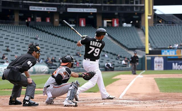A sparse crowd watching Jose Abreu hit. (Getty Images)