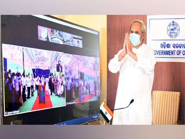 Odisha Chief Minister Naveen Patnaik interacting with residents of Malkangiri district via video conferencing on Tuesday. (Photo/ANI)