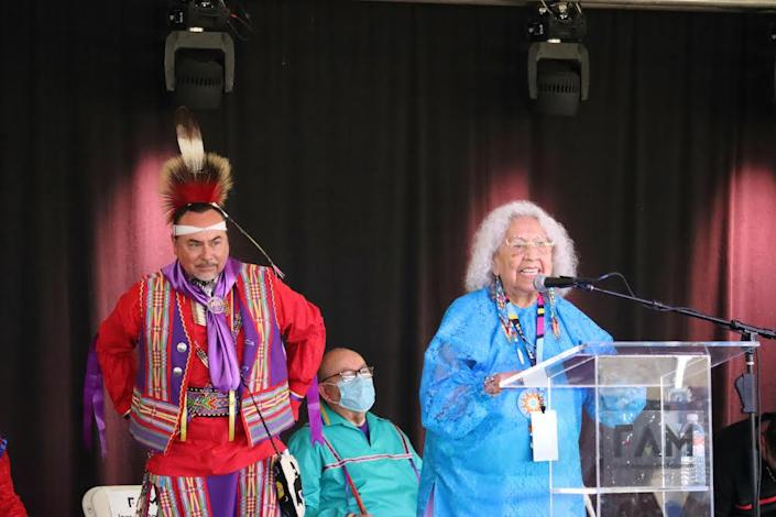 Dr. Henrietta Mann, Cheyenne and FAM Knowledge Giver, gives opening remarks at the grand opening of the First Americans Museum in Oklahoma City on September 18, 2021. (Photo/Darren Thompson for Native News Online)