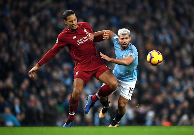 Virgil van Dijk and Liverpool figure to do battle against Sergio Aguero and Manchester City right down to the wire in the Premier League. (Getty)