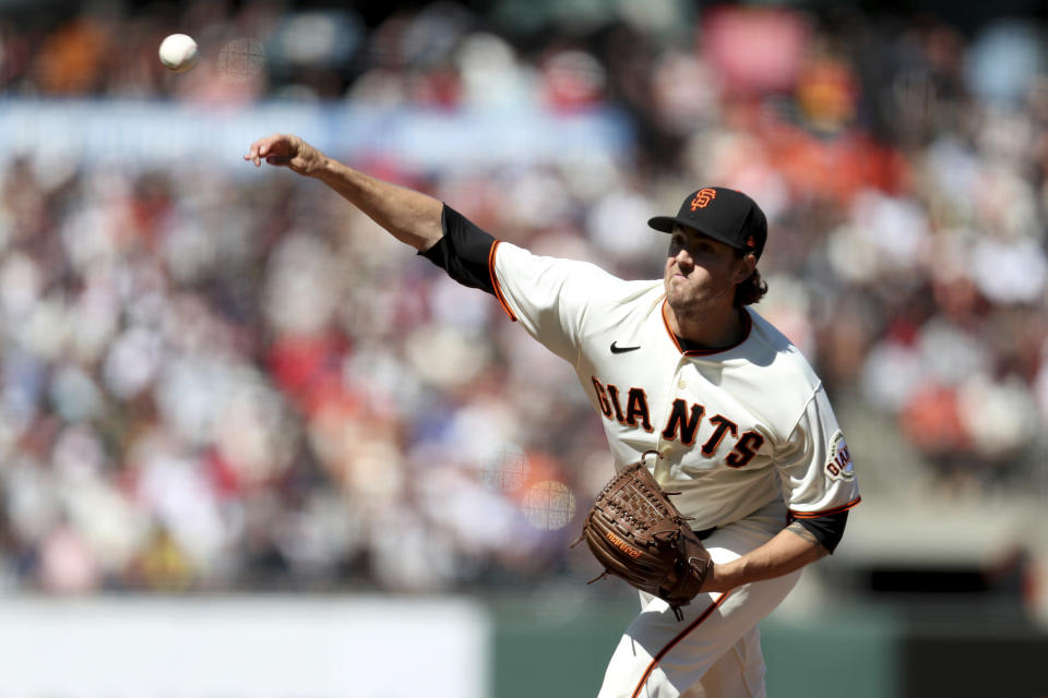 San Francisco Giants' Kevin Gausman throws against the St. Louis Cardinals during the fifth inning of a baseball game in San Francisco, Monday, July 5, 2021. (AP Photo/Jed Jacobsohn)