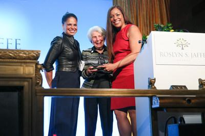 Nicole Lewis, Founder of Generation Hope, is presented with the 2018 Roslyn S. Jaffe Award by Soledad O'Brien and Mrs. Jaffe at Cipriani in NYC. Photo credit: BFA/Angela Pham