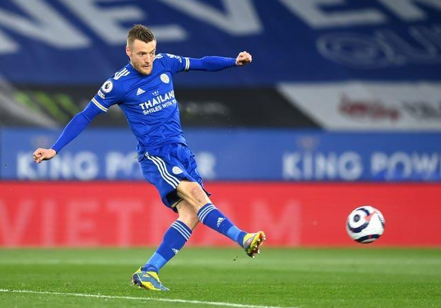 Jamie Vardy scored his first goal in two months against West Brom