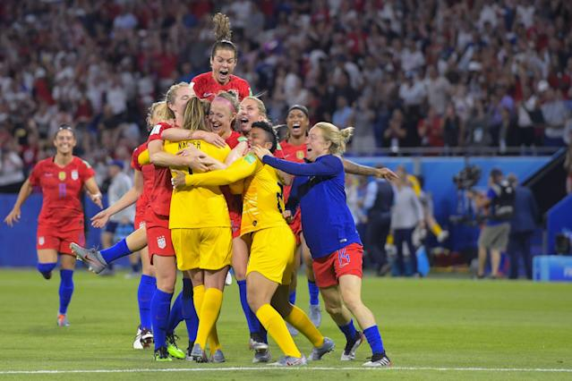 (L-R) Abby Dahlkemper of USA women, goalkeeper Alyssa Naeher of USA women, goalkeeper Adrianna Franch of USA women, Allie Long of USA women, Ali Krieger of USA women, Lindsey Horan of USA women , Emely Sonnett of USA women, during the FIFA Women's World Cup France 2019 semi final match between England and United States of America at Stade de Lyon on July 02, 2019 in Lyon, France. (Photo by VI Images via Getty Images)