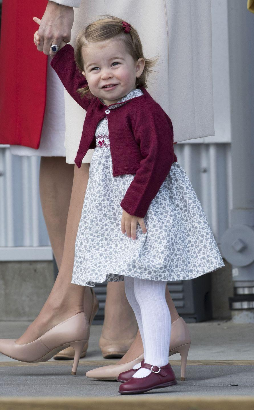<p>Charlotte, 16 months, marvels at the sight of something while waiting to board a sea-plane in Victoria, Canada. In September 2016, Charlotte and George joined their parents on an 8-day tour of Canada.</p>