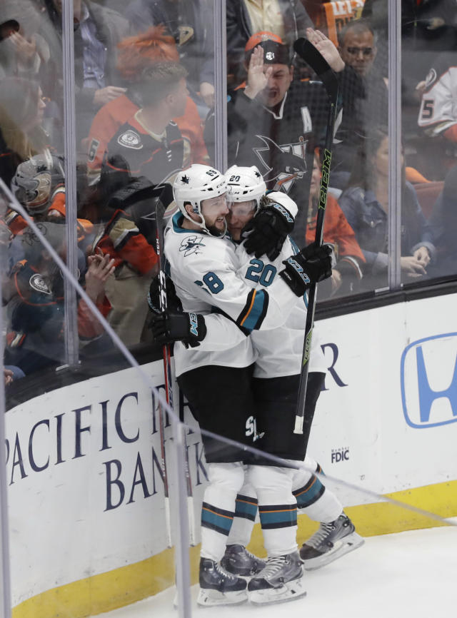 San Jose Sharks left wing Marcus Sorensen, right, celebrates his goal with center Melker Karlsson during the first period of Game 2 of an NHL hockey first-round playoff series against the Anaheim Ducks in Anaheim, Calif., Saturday, April 14, 2018. (AP Photo/Chris Carlson)
