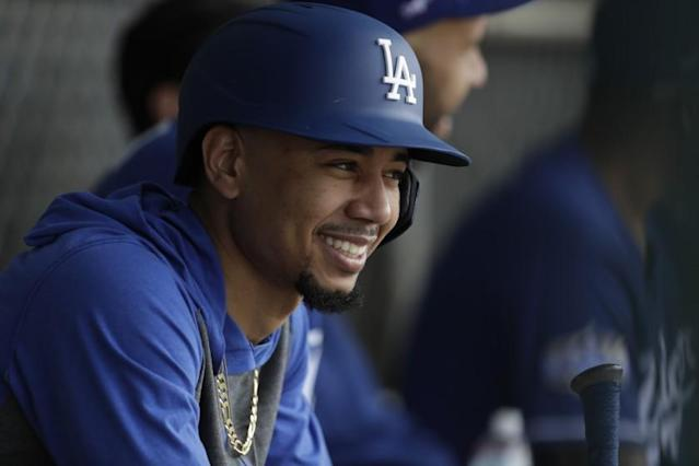 "Dodgers right fielder Mookie Betts during a spring training game Feb. 21 in Phoenix. <span class=""copyright"">(Gregory Bull / Associated Press)</span>"