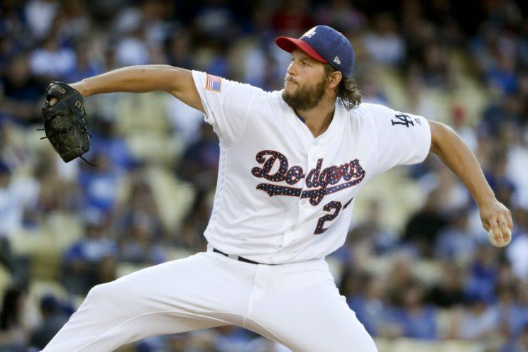 Los Angeles Dodgers starting pitcher Clayton Kershaw throws against the Arizona Diamondbacks during the first inning of a baseball game in Los Angeles, Tuesday, July 4, 2017. (AP Photo/Chris Carlson)