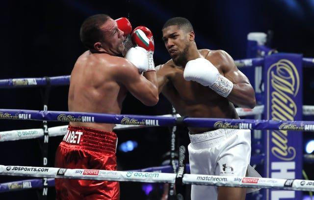 Anthony Joshua, right, is back in the ring this weekend (Andrew Couldridge/PA)