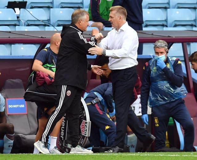 Sheffield United manager Chris Wilder and Aston Villa boss Dean Smith had to share the spoils (Paul Ellis/NMC Pool/PA)