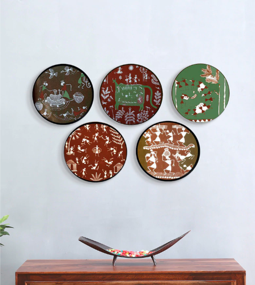 "These 10-inch, ceramic, hand-painted <a href=""https://fave.co/2Dx1hbZ"" rel=""nofollow noopener"" target=""_blank"" data-ylk=""slk:Tribal Art wall plates by Crafted India"" class=""link rapid-noclick-resp""><strong>Tribal Art wall plates by Crafted India</strong></a> is a contemporary take on Maharashtra's famous Warli folk art. <em>Rs.17,199 (set of five) on offer. </em><a href=""https://fave.co/2Dx1hbZ"" rel=""nofollow noopener"" target=""_blank"" data-ylk=""slk:Flash sale!"" class=""link rapid-noclick-resp""><strong>Flash sale!</strong></a>"