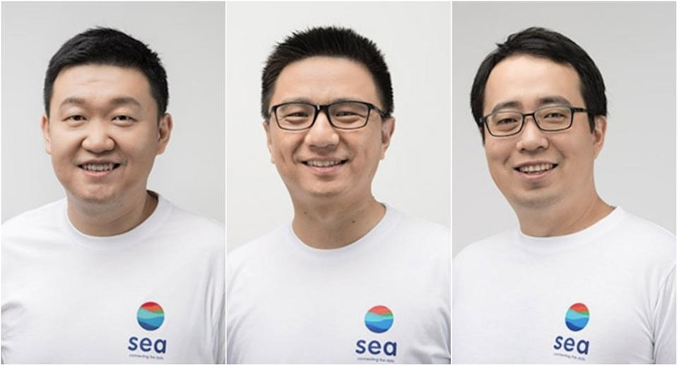 Sea Ltd.'s management: (from left) Forrest Li, Chairman and Group CEO, Gang Ye, Group Chief Operating Officer and David Chen, Chief Product Officer, Shopee. (Source: SEA Ltd.)