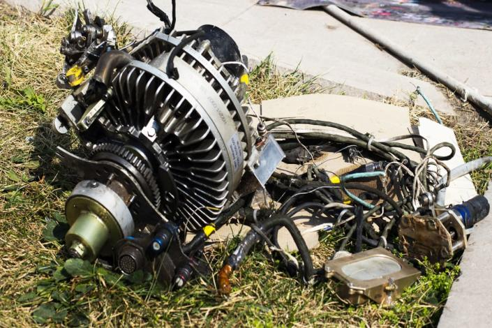 """<div class=""""inline-image__caption""""><p>The Republic of Artsakh claims to have shot down many drones but they were only able to show The Daily Beast engine parts, which are difficult to identify. </p></div> <div class=""""inline-image__credit"""">Emil Filtenborg</div>"""
