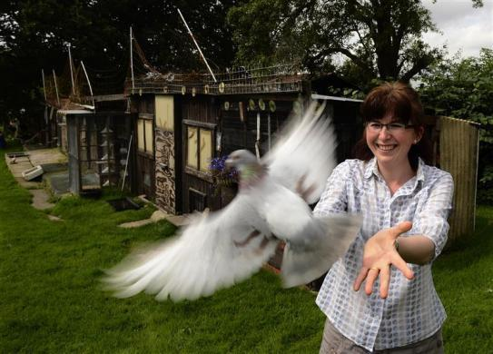 Pigeon fancier Katie Adwas releases a pigeon at her loft in Knayton, northern England August 21, 2012.