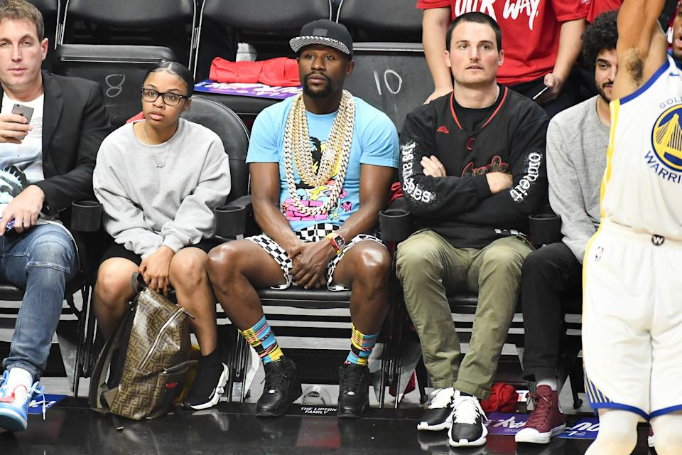 Floyd Mayweather Jr. attends an NBA playoffs basketball game between the Los Angeles Clippers and the Golden State Warriors at Staples Center on April 18, 2019 in Los Angeles, California. (Photo by Allen Berezovsky/Getty Images)