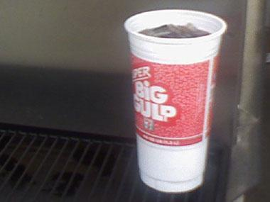 """<div class=""""caption-credit""""> Photo by: Bradley Stemke</div><div class=""""caption-title"""">2. 7-Eleven's 44-Ounce Super Big Gulp</div><b>The damage:</b> 512 calories, 128 grams of sugar, 0 grams fat <br> We couldn't help but notice that 7-Eleven describes this as """"genetically engineered to quench even the most diabolical thirst."""" <b><br> Instead, you could eat:</b> It's the same amount of calories in a bag of salt and vinegar potato chips, a bag of M&Ms, and 24 almonds. <br> <b><a rel=""""nofollow noopener"""" href=""""http://www.rd.com/slideshows/11-packaged-food-words-to-beware/"""" target=""""_blank"""" data-ylk=""""slk:More: 11 Packaged Food Words to Beware »"""" class=""""link rapid-noclick-resp"""">More: 11 Packaged Food Words to Beware »</a></b> <br>"""