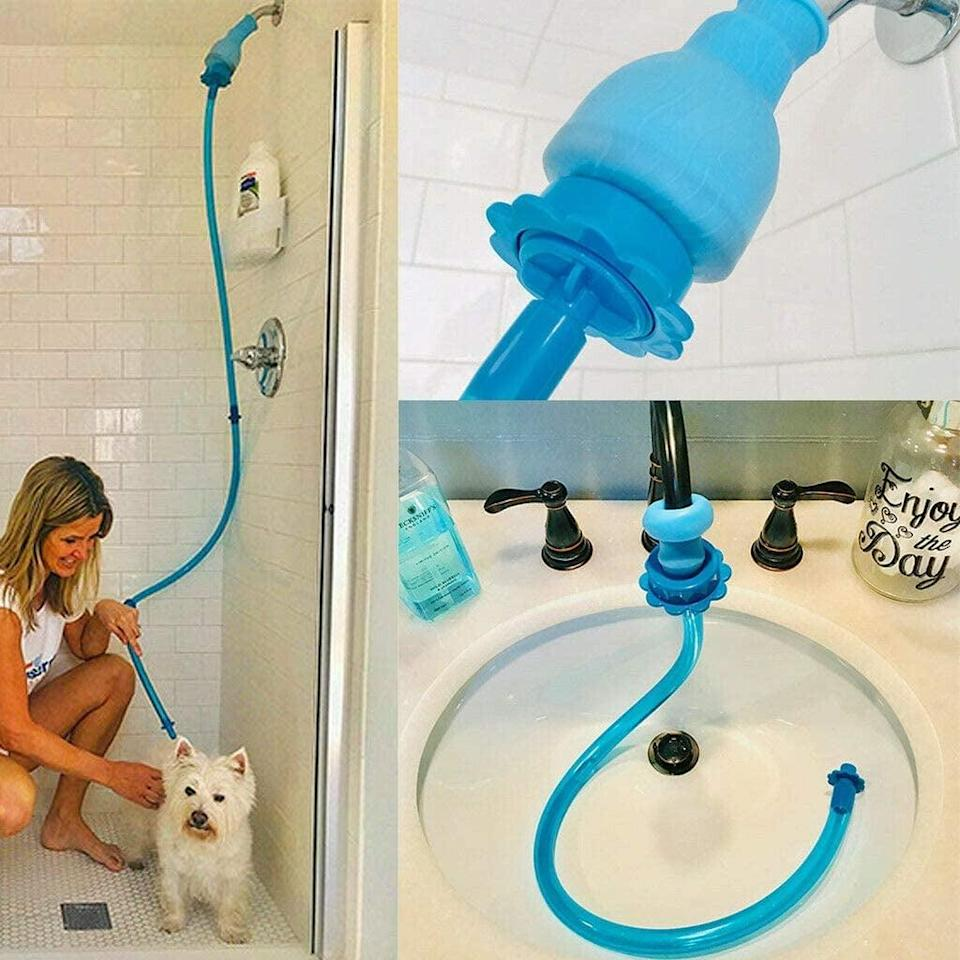 <p>If you're grooming and washing your dogs right now, this <span>Rinseroo: Slip-on Handheld Showerhead Attachment Hose</span> ($25) is for you. It couldn't be a more brilliant product.</p>