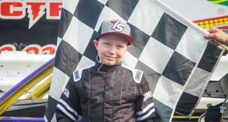11-year-old boy Caleb Hammond (pictured), who is dying from leukemia, is collecting racing stickers to cover his casket before he dies from cancer