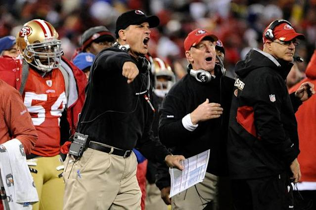 SAN FRANCISCO, CA - JANUARY 22: Head coach Jim Harbaugh of the San Francisco 49ers reacts in the fourth quarter against the New York Giants during the NFC Championship Game at Candlestick Park on January 22, 2012 in San Francisco, California. (Photo by Thearon W. Henderson/Getty Images)