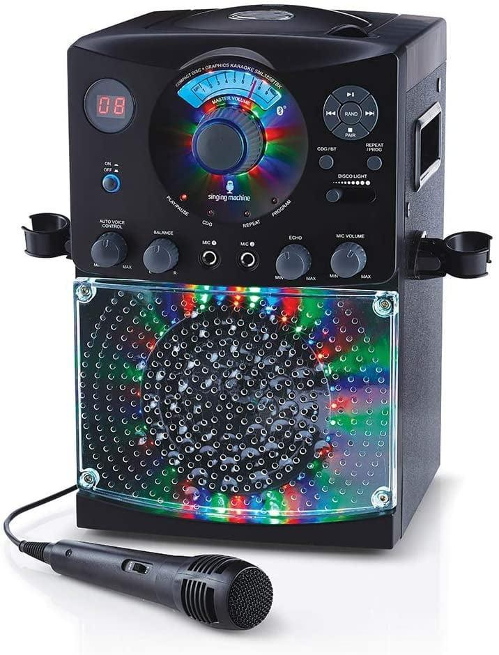 """<p>Your little performer can belt out their favorite songs on this <a href=""""https://www.popsugar.com/buy/Singing-Machine-Bluetooth-Karaoke-System-423705?p_name=Singing%20Machine%20Bluetooth%20Karaoke%20System&retailer=amazon.com&pid=423705&price=50&evar1=moms%3Aus&evar9=25997679&evar98=https%3A%2F%2Fwww.popsugar.com%2Fphoto-gallery%2F25997679%2Fimage%2F39052281%2FSinging-Machine-Bluetooth-Karaoke-System&list1=holiday%2Cgift%20guide%2Ckid%20shopping%2Choliday%20living%2Choliday%20for%20kids&prop13=api&pdata=1"""" class=""""link rapid-noclick-resp"""" rel=""""nofollow noopener"""" target=""""_blank"""" data-ylk=""""slk:Singing Machine Bluetooth Karaoke System"""">Singing Machine Bluetooth Karaoke System</a> ($50). </p>"""