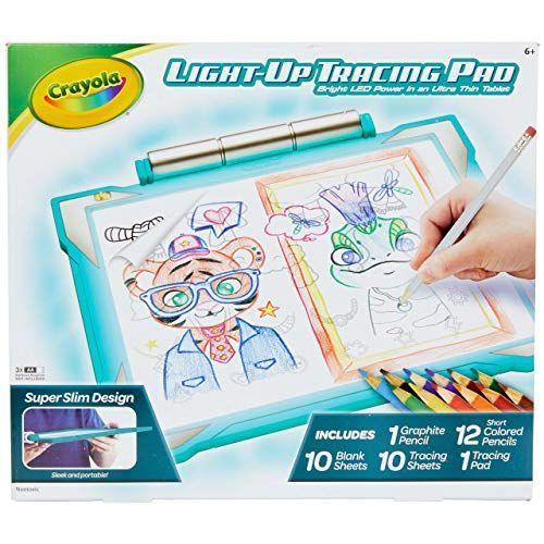 """<p><strong>Crayola</strong></p><p>amazon.com</p><p><strong>$24.99</strong></p><p><a href=""""https://www.amazon.com/dp/B07P6RFKRL?tag=syn-yahoo-20&ascsubtag=%5Bartid%7C10055.g.203%5Bsrc%7Cyahoo-us"""" rel=""""nofollow noopener"""" target=""""_blank"""" data-ylk=""""slk:Shop Now"""" class=""""link rapid-noclick-resp"""">Shop Now</a></p><p>The kit comes with over 100 traceable images that kids can mix and match to make their own designs, and the backlight makes tracings easy to see no matter the setting. It comes with a graphite pencil, 12 colored pencils, 10 tracing sheets and 10 blank sheets. <em>Ages 6+</em></p>"""