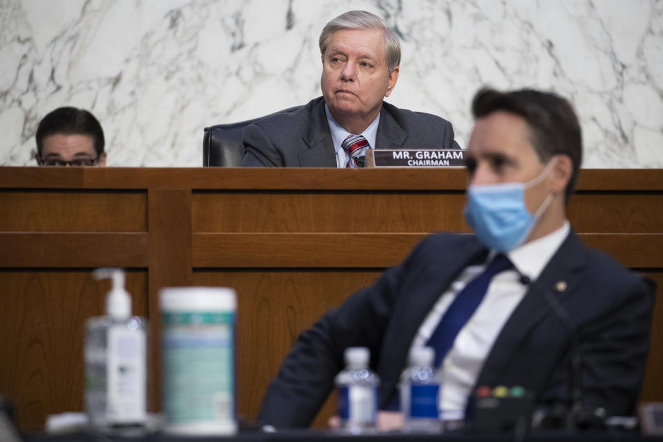 Sen. Lindsey Graham, R-S.C., during the confirmation hearing for Supreme Court nominee Amy Coney Barrett, before the Senate Judiciary Committee, Thursday, Oct. 15, 2020, on Capitol Hill in Washington. (Shawn Thew/Pool via AP)