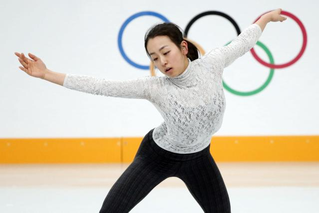Mao Asada of Japan practises her routine during a figure skating training session at the Iceberg Skating Palace training arena during the 2014 Sochi Winter Olympics February 17, 2014. REUTERS/Lucy Nicholson (RUSSIA - Tags: SPORT FIGURE SKATING OLYMPICS)