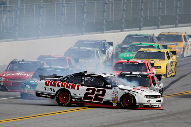 TALLADEGA, AL - MAY 05: Brad Keselowski, driver of the #22 Discount Tire Dodge, spins out during the NASCAR Nationwide Series Aaron's 312 at Talladega Superspeedway on May 5, 2012 in Talladega, Alabama. (Photo by Chris Graythen/Getty Images for NASCAR)