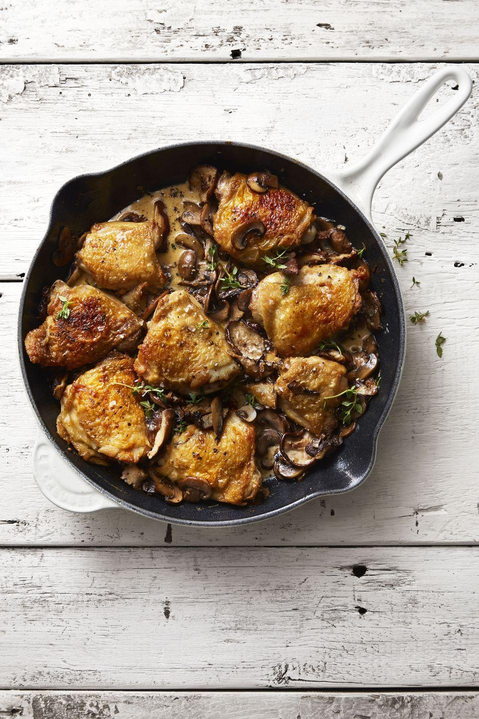 "<p>Chicken dinners are typically fail-proof but that doesn't mean they're boring — this creamy, mushroom dish is anything but. </p><p><em><a href=""https://www.goodhousekeeping.com/food-recipes/a46042/mushroom-chicken-skillet-with-herbed-cream-sauce-recipe/"" rel=""nofollow noopener"" target=""_blank"" data-ylk=""slk:Get the recipe for Mushroom Chicken Skillet with Herbed Cream Sauce »"" class=""link rapid-noclick-resp"">Get the recipe for Mushroom Chicken Skillet with Herbed Cream Sauce »</a></em> </p>"