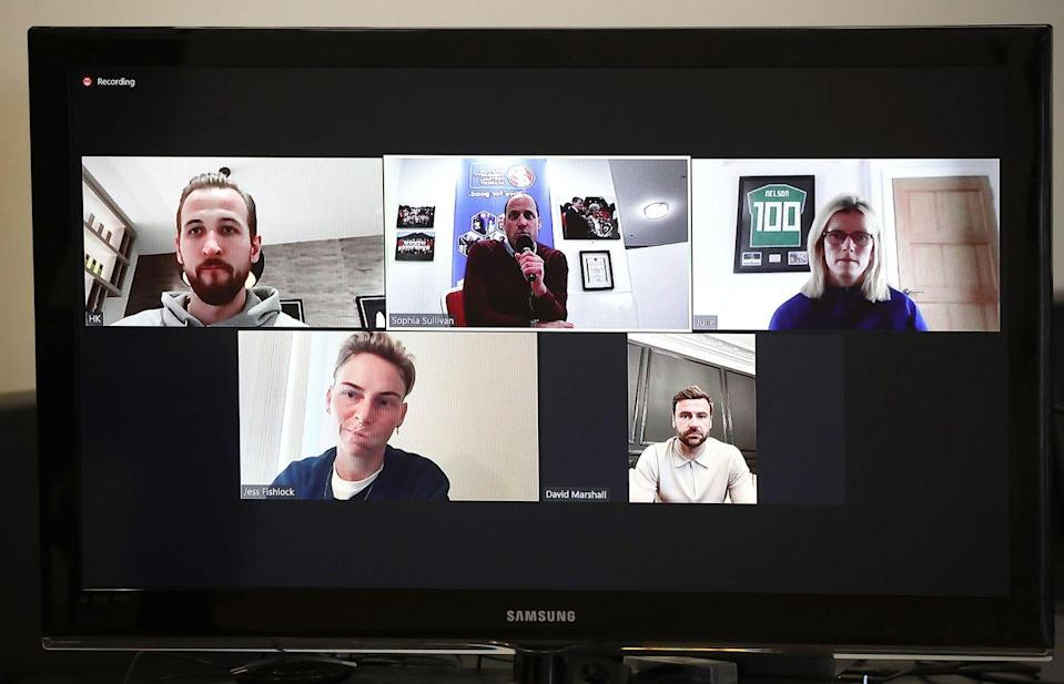 <p>On a video call with four nation players—England's Harry Kane, Scotland's David Marshall, Northern Ireland's Julie Nelson. and Welsh professional footballer Jess Fishlock—during a visit to Spartans FC's Ainslie Park Stadium on May 21, 2021 in Edinburgh, Scotland.</p>