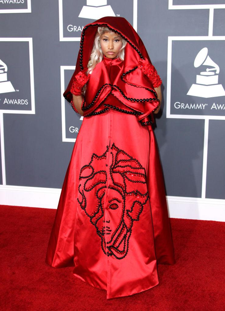 <p>We're not sure what possessed Nicki Minaj to opt for this bold Versace look on the 2012 - we're just hoping to never see it again. (Image via Getty Images)</p>