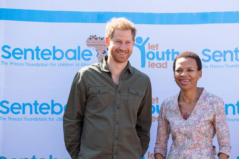 CHOBE NATIONAL PARK, BOTSWANA - SEPTEMBER 26: Prince Harry, Duke of Sussex with head of programmes for Sentebale Botswana, Ketlogetswe Montshiwa during a visit to the Kasane Health Post, run by the Sentebale charity, in Kasane on day four of their tour of Africa on September 26, 2019 in Chobe National Park, Botswana. (Photo by Dominic Lipinski - Pool /Getty Images)