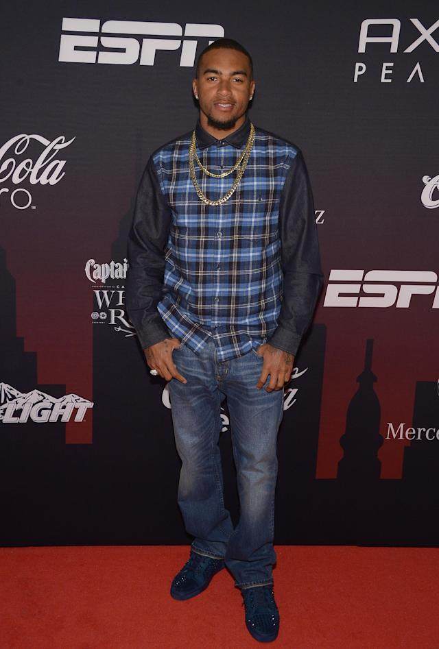 NEW YORK, NY - JANUARY 31: NFL player DeSean Jackson attends the ESPN The Party at Basketball City - Pier 36 - South Street on January 31, 2014 in New York City. (Photo by Michael Loccisano/Getty Images For ESPN)