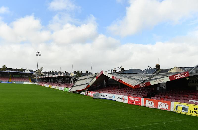 Turners Cross Stadium in Cork, Ireland, was damaged due to Storm Ophelia. (Eóin Noonan/Getty Images)