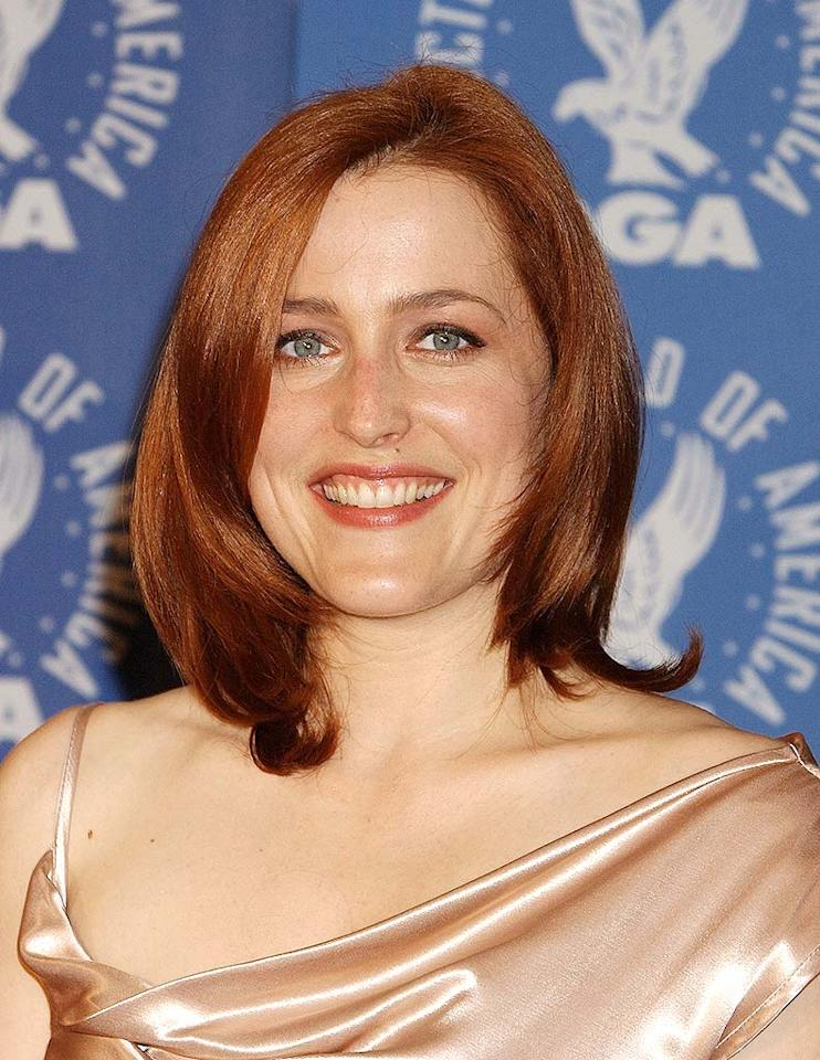 "Gillian Anderson was famous for the fiery red tresses she sported to play intrepid FBI agent in the 1990s hit series ""The X-Files."" Gregg DeGuire/<a href=""http://www.wireimage.com"" target=""new"">WireImage.com</a> - March 9, 2002"