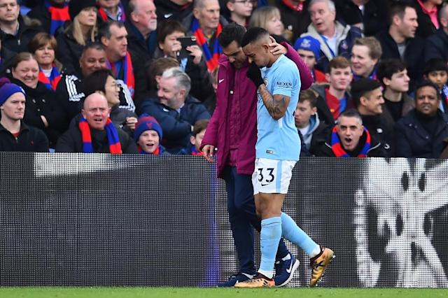Manchester City striker Gabriel Jesus could make a shock return at Wembley after being out with a knee injury since the end of December (AFP Photo/Glyn KIRK )