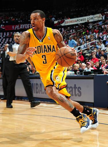 ATLANTA, GA - MAY 3: George Hill #3 of the Indiana Pacers drives to the basket against the Atlanta Hawks during Game Six of the Eastern Conference Quarterfinals in the 2013 NBA Playoffs on May 3, 2013 at Philips Arena in Atlanta, Georgia.  (Photo by Scott Cunningham/NBAE via Getty Images)