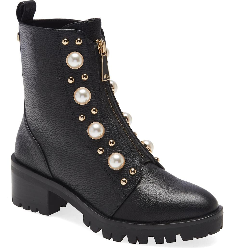 <p>From the pearly beads to the golden zip, this <span>Karl Lagerfeld Paris Payzlee Lug Sole Boot</span> ($199) blends sophistication with functionality. It's edgy, sturdy and polished enough for nighttime occasions.</p>