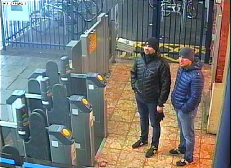 British police suspect Alexander Petrov and Ruslan Boshirov as the men who tried to kill Russian former double agent Sergei Skripal and his daughter Yulia in March 2018 (AFP Photo/HO)