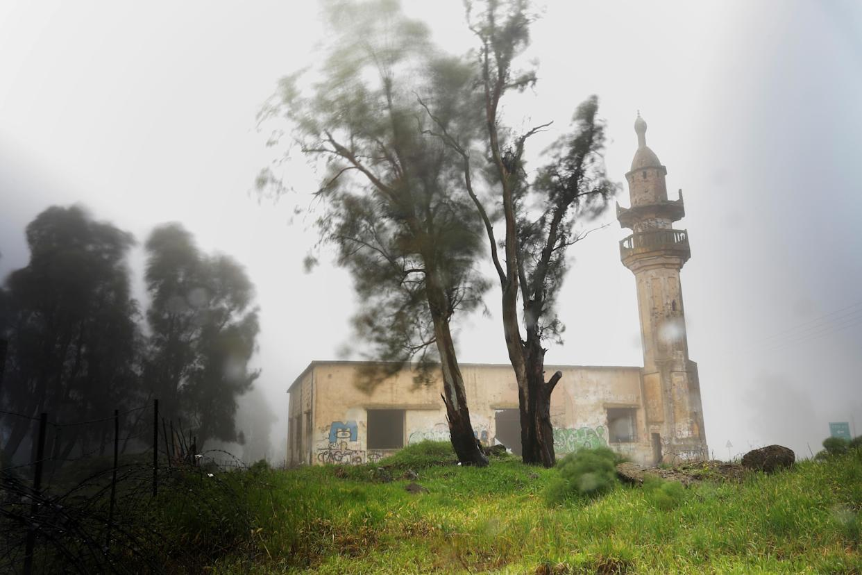 "An abandoned mosque is seen in the Golan Heights, in territory that Israel captured from Syria and occupied in the 1967 Six Day War, Feb. 27, 2019. Until 1967 a Syrian village stood near the site, which now lies just 5 km from the United Nations-monitored ""Area of Separation"" that divides Israeli and Syrian military forces under a 1974 ceasefire arrangement. (Photo: Ronen Zvulun/Reuters)"