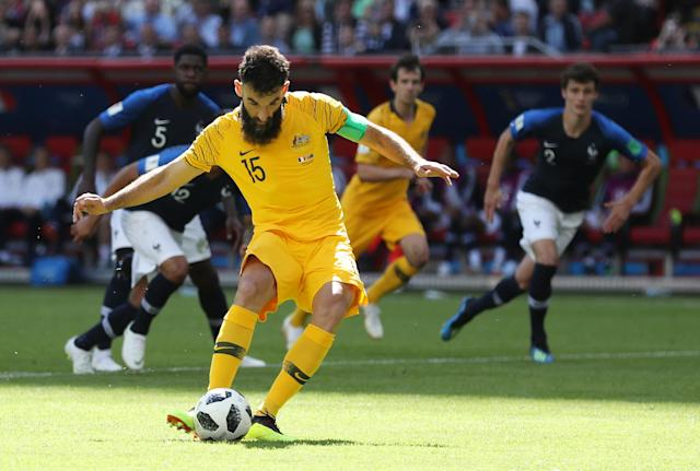 <p>Cool as you like, Australia's Mile Jedinak slots home his penalty after a French handball </p>