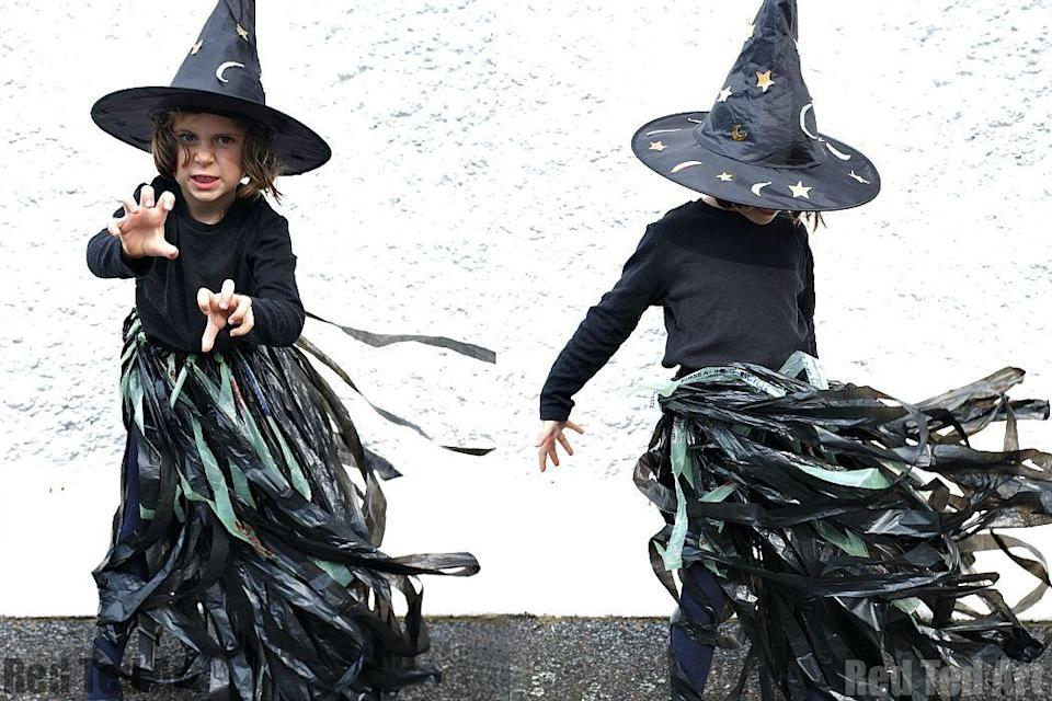 """<p>Did you wait until the <em>last</em> possible minute to decide on your child's costume? Thirty minutes is all you need to craft this easy skirt. </p><p><strong>Get the tutorial at <a href=""""https://blog.partydelights.co.uk/last-minute-witch-costume/"""" rel=""""nofollow noopener"""" target=""""_blank"""" data-ylk=""""slk:Party Delights"""" class=""""link rapid-noclick-resp"""">Party Delights</a>. </strong> </p><p><a class=""""link rapid-noclick-resp"""" href=""""https://www.amazon.com/Hefty-Ultra-Strong-Kitchen-Drawstring/dp/B01BZ0MR54/ref=sr_1_11?tag=syn-yahoo-20&ascsubtag=%5Bartid%7C10050.g.28304812%5Bsrc%7Cyahoo-us"""" rel=""""nofollow noopener"""" target=""""_blank"""" data-ylk=""""slk:SHOP BLACK PLASTIC BAGS"""">SHOP BLACK PLASTIC BAGS</a> </p>"""