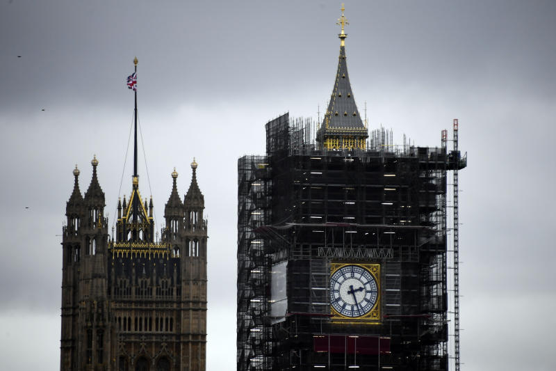 "A view of the Victoria Tower, left, and the Elizabeth Tower, which holds the bell known as ""Big Ben"", in London, Friday, Nov. 1, 2019. British euroskeptic politician Nigel Farage is trying to ramp up the pressure on Conservative Prime Minister Boris Johnson. He warned that his Brexit Party will run against the Conservatives across the country in the Dec. 12 general election unless Johnson abandons his divorce deal with the European Union. (AP Photo/Alberto Pezzali)"