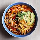 <p>This hearty, richly flavored soup comes together easily, thanks to convenient frozen vegetables, canned beans, cooked chicken, and spices. Garnishes of crisp tortilla strips, creamy avocado, melting cheese, and fresh cilantro make this soup special.</p>