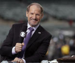 FILE - NFL broadcaster Bill Cowher speaks on set before an NFL football game between the Oakland Raiders and the Kansas City Chiefs in this Thursday, Oct. 19, 2017 file photo, in Oakland, Calif. Cowher, who won 149 games and a Super Bowl in 15 seasons with the Pittsburgh Steelers from 1992-2006, will be inducted into the Pro Football Hall of Fame next month. (AP Photo/Marcio Jose Sanchez, File)
