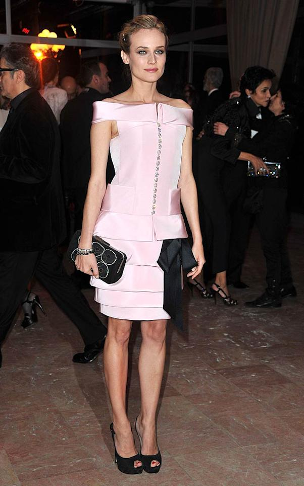 """Diane Kruger loves to make fashion statements wherever she goes. Unfortunately, this statement screams, """"I look like an uncomfortable stick of bubble gum!"""" Pascal Le Segretain/<a href=""""http://www.gettyimages.com/"""" target=""""new"""">GettyImages.com</a> - January 27, 2011"""