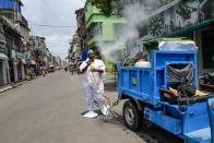 A civic worker sprays sanitizers in front of roadside shops in Kolkata, India, Sunday, Aug. 30, 2020. India has the third-highest coronavirus caseload after the United States and Brazil, and the fourth-highest death toll in the world. (AP Photo/Bikas Das)